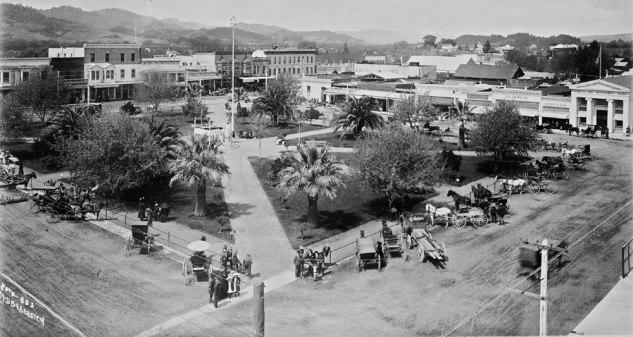 Healdsburg Plaza, ca. 1907, Healdsburg, California