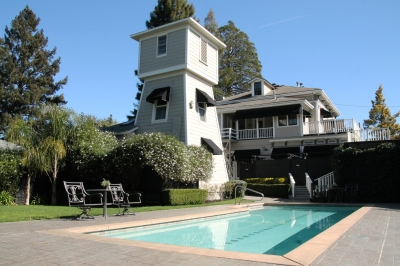 Pool and watertower at Honor Mansion