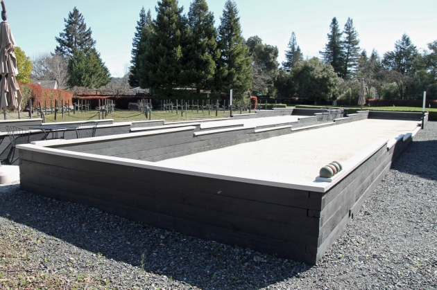 Competition bocce courts located next to a Zinfandel vineyard at the Honor Mansion