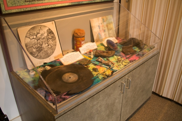 The memories of a an idyllic life - items left behind from the Grateful Dead and Chosen Family days at Olompali on display in the visitor center.