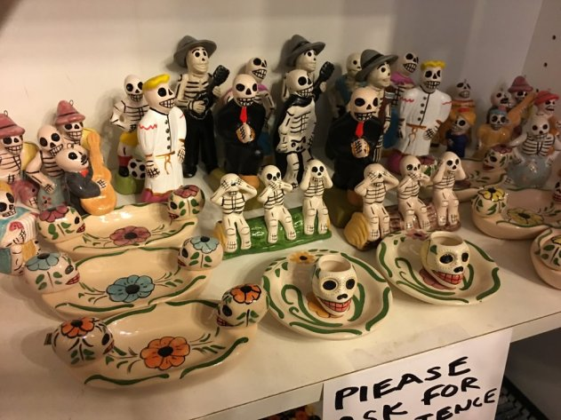 Día de los Muertos items for sale at the gift shop