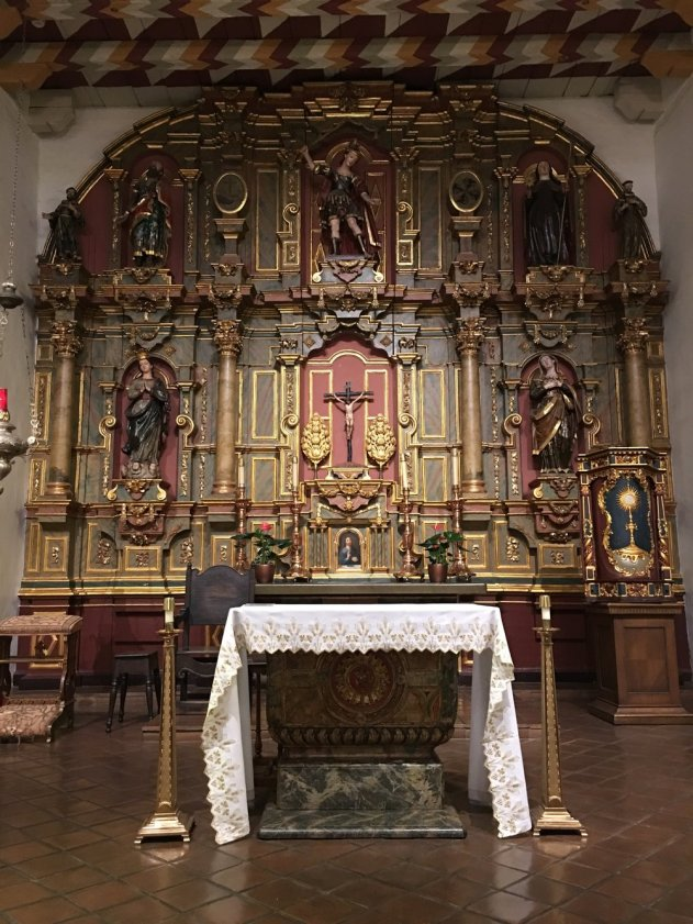 The altar at the original Mission. It's still a functioning church.