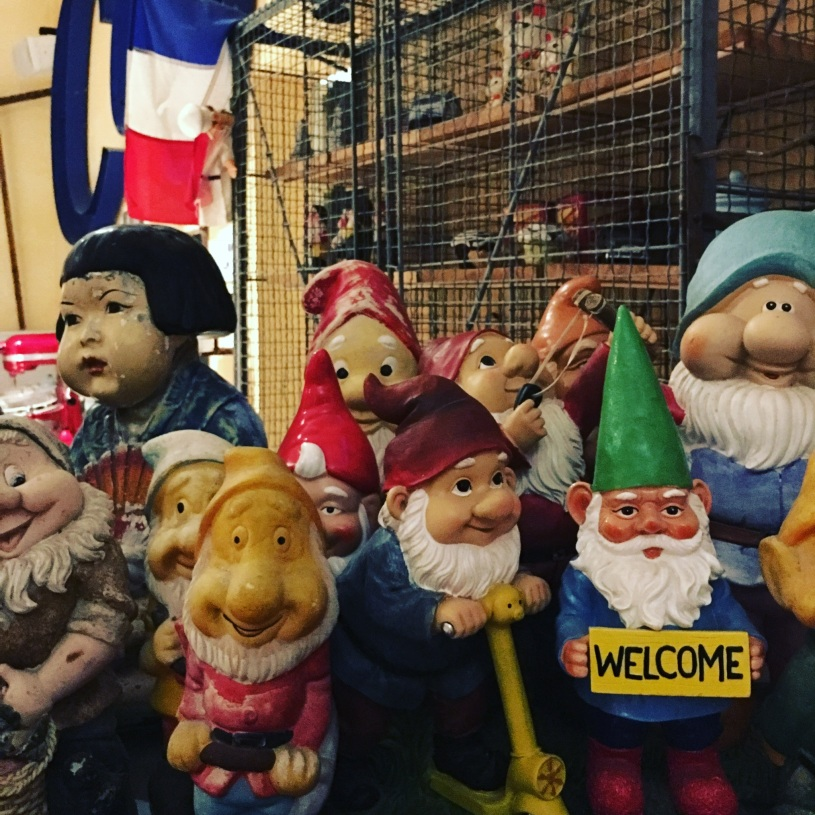 A collection of gnomes welcome guests at Hotel Metro & Café in Petaluma, California